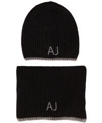 ARMANI JEANS Schwarzes Mützen-Schal-Set mit AJ-Logo