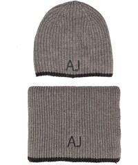ARMANI JEANS Graues Mützen-Schal-Set mit AJ-Logo