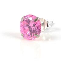 Trendhim Růžová kulatá 6 mm zirkonová náušnice C3-5-346