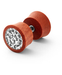 Trendhim 10mm hnědý dřevěný falešný plug do ucha S11-7-1913