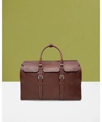 Ted Baker Reisetasche aus genarbtem Leder Dunkeltan