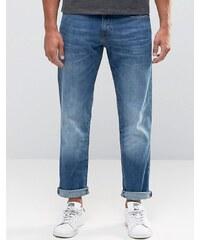 Esprit - Jean droit délavage vintage - Bleu