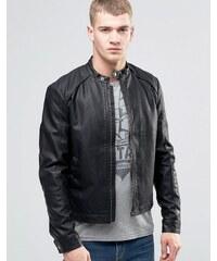 Jack & Jones - Blouson de motard en imitation cuir - Noir
