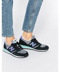 New Balance - 420 - Sneaker aus Wildleder in Schwarz und Violett - Schwarz