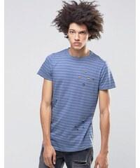 Systvm - Meter - T-shirt vieilli à rayures - Bleu