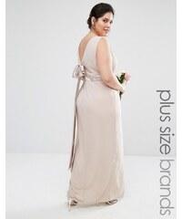 TFNC Plus Wedding - Robe longue coupe cache-cœur avec jupe portefeuille et nœud au dos - Rose