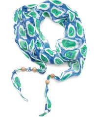 Guess dámský lněný šátek s korálky BLUE