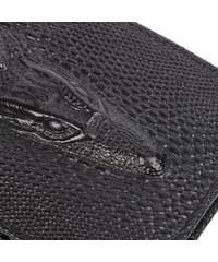 Real_Leather Leder-Klapp-Geldbörse mit Krokodil-Relief - Schwarz