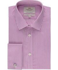 Pánská košile Hawes & Curtis Fuchsiové & Bílé pruhy