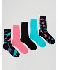 ASOS - Lot de 5 paires de chaussettes motif dinosaure - Multi