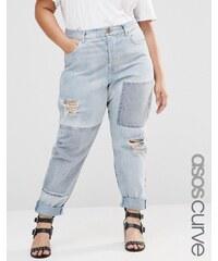 ASOS CURVE - Brady - Boyfriend-Jeans mit Aufnäher - Blau