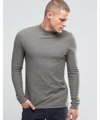 ASOS - T-shirt long moulant à manches longues avec effet gaufré et col roulé - Gris - Gris