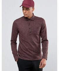 Reiss - Langärmliges Polohemd in Salt and Pepper - Rot