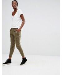 Only - Pantalon cargo longueur cheville - Vert
