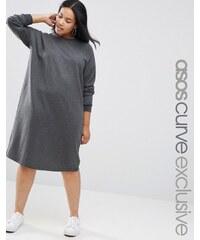 ASOS CURVE - Robe oversize en molleton - Gris