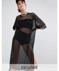 Bones - Robe t-shirt oversize en tulle transparent - Noir