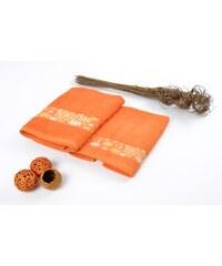 Osuška bavlněná FLOWERS oranžová, froté, 70x130 cm Essex