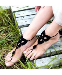 Lesara 2er-Set Fußkette im Häkel-Design - Schwarz