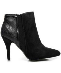 FOREVER FOLIE Extravagantní černé kotníčkové boty s hadím vzorem
