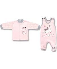 Lafel Dívčí set kabátku a dupaček Cat - růžový