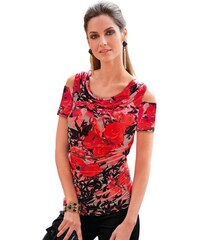 Damen Shirt mit schmeichelnder Raffung im Vorderteil TOGETHER rot 36,38,40,42,44,46,48,50,52