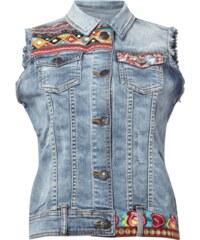 Desigual Jeansweste mit Stickereien und Aufnähern