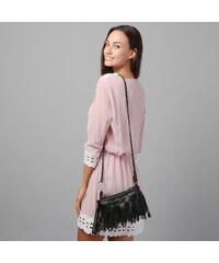 Lesara 3/4-Arm-Kleid mit Häkel-Details - Rosa - S