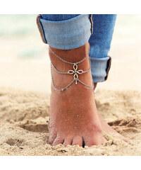 Lesara 2er-Set Fußkette mit Schleifenquadrat-Element
