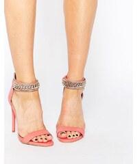 Forever Unique - Totem - Sandales à talons minimalistes en cuir ornées - Rose
