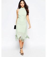 Style London - Robe dos nu à ourlet frangé - Vert