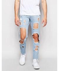 Brooklyn Supply Co - Jean skinny délavé à découpes - Bleu