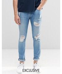 Brooklyn Supply Co - Jean super skinny à lacérations et délavage clair - Bleu