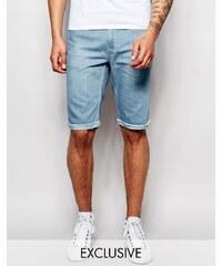 Brooklyn Supply Co - Short slim en jean à ourlet brut et délavage clair - Bleu