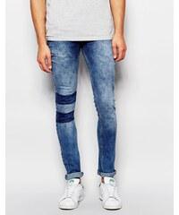 Kubban - Spray On - Enge Jeans mit Streifeneinsätzen am Knie - Blau