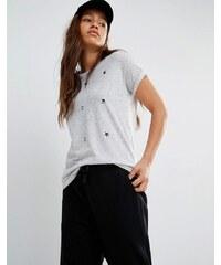 Converse - T-shirt avec imprimé logo sur l'ensemble - Gris - Gris