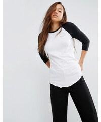 Converse - T-shirt raglan à manches longues et logo métallisé - Blanc - Blanc