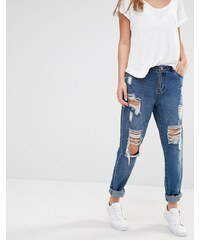 JDY J.D.Y - Girlfriend-Jeans im Destroyed-Look - Blau