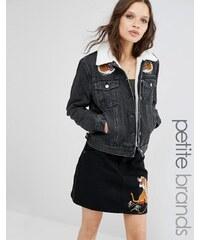 Glamorous Petite - Jeansjacke mit Tiger-Stickerei und Borg-Kragen - Schwarz