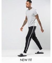 ASOS Loungewear - Pantalon de jogging skinny rayé sur le côté - Noir et blanc - Noir