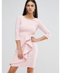 City Goddess - Mittellanges Schößchenkleid mit 3/4-Arm - Rosa