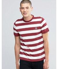 Fred Perry - T-shirt rayé - Blanc neige/Marron - Blanc