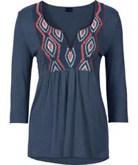 BODYFLIRT T-shirt avec application bleu manches 3/4 femme - bonprix