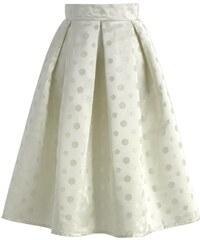 Chicwish Midi sukně Císařovna, bílá s puntíky