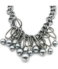 Náhrdelník perlový s kruhy a ovály zlaté barvy