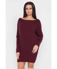 Bordové svetrové šaty Fobya F240