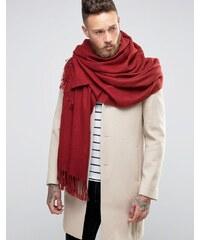 ASOS - Écharpe tissée style couverture - Bordeaux - Rouge