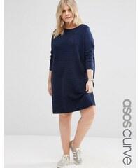 ASOS CURVE - Pulloverstrickkleid mit Ziernähten - Marineblau