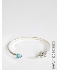 ASOS CURVE - Bracelet manchette ouvert motif éléphant - Bleu