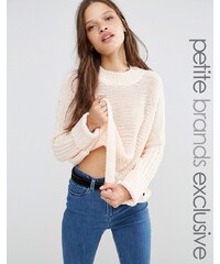 Noisy May Petite - Strickpullover mit Zopfmuster - Rosa