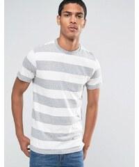Celio - T-shirt ras de cou à poche et rayures effet chiné - Gris